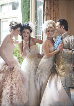 Stunning wedding gowns inspired by a classic Cinderella story. Love all the details and the head pieces.