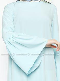 Fırfırlı Elbise - Mavi - Missmira