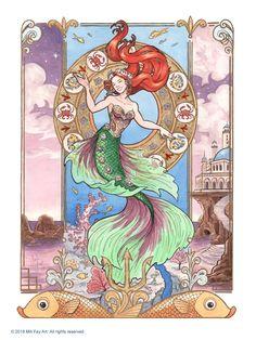 Super Disney Art Nouveau The Little Mermaid 38 Ideas Disney Princess Art, Anime Princess, Disney Fan Art, Disney Princesses, Princess Aurora, Aladdin Princess, Princess Bubblegum, Mermaid Comforter, Art Nouveau Disney