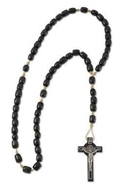 Men's Black Wood Rosary with St Benedict Cross- Made in Brazil Religious Gallery. $12.99. 9x7mm Beads. Made in Brazil. Ideal for Men's Rosary. 2.5'' St. Benedict Cross. Solid Wood Cherry Rosary in Black Color