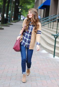 flannel with tan cardigan with jeans, Back to college girls outfits http://www.justtrendygirls.com/back-to-college-girls-outfits/