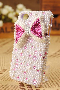 pearl and pink bow phone cover!