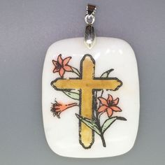 ENGRAVED HAND PAINTED CROSS FLOWER NATURAL WHITE STONE PENDANT ZL7001796 #ZL #PENDANT
