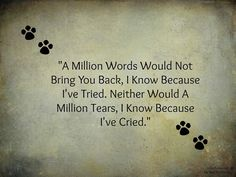 A million words would not bring you back...