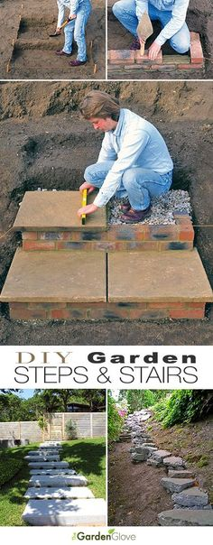 DIY Garden Steps and Stairs • A round-up with great ideas tutorials of step and stair projects for the garden and yard!