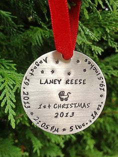 Hand Stamped Christmas Ornament 2013 by TheTaffyBox on Etsy