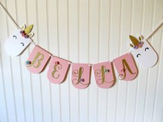 Unicorn Banner - Unicorn Party Banner - Unicorn First Birthday - Unicorn Party - Unicorn Decorations - Unicorn Theme Party - Pink and Gold by weloveaparty on Etsy https://www.etsy.com/listing/522078686/unicorn-banner-unicorn-party-banner