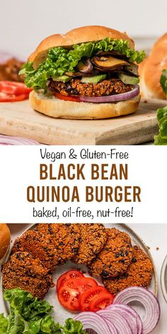 The BEST crispy Vegan Black Bean Quinoa Veggie Burgers. These healthy vegan black bean burgers are gluten-free with no breadcrumbs Quinoa Veggie Burger, Black Bean Quinoa Burger, Homemade Veggie Burgers, Vegan Burgers, Black Bean Burgers, Vegetarian Recipes Dinner, Vegan Dinners, Healthy Recipes, Burger Toppings