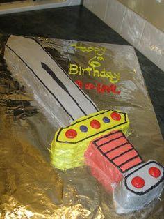 Sword Cake Birthday Board, Third Birthday, Birthday Cakes, Birthday Ideas, Birthday Parties, Party Animals, Animal Party, Sword Cake, Ninja Cake