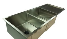 "1/2"" Radius 50"" Drainboard Double Bowl Sink With Low Divide  - Reversible   (5PD17.15.15)"