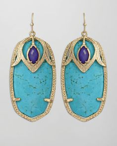 Darby Peacock Earrings, Turquoise by Kendra Scott at Neiman Marcus.