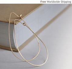 Gold Teardrop Hoop Earrings - Elegant Tear Drop Hoops 2.5 inch - 14K Gold Filled Jewelry - Hammered, Elongated, Modern