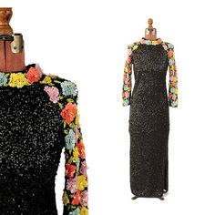 9c33adf930 RESERVED for  Jillian Vintage 1960 s Imperial Black Sequin + Beaded Floral  Sleeves Wool Knit Evening Cocktail Party Dress S