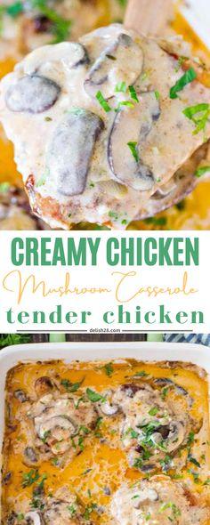Chicken Mushroom Casserole, Mushroom Chicken, Honey Garlic Chicken, Creamy Chicken, Mango Chicken Curry, Overnight Breakfast Casserole, Best Pans, How To Cook Mushrooms, Stuffed Mushrooms