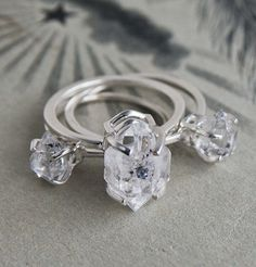 Herkimer Diamond Solitaire Rings- I remember digging for these when I was a kid!  Never found one this big though.  Le sigh.
