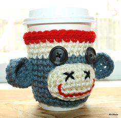 Sock Monkey Cup Sleeve Cozy Denim Blue by MiniMade on Etsy, $6.00