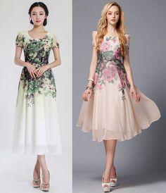 Fashion Women Slim waist Short sleeve Vintage  Floral Print Chiffon Maxi Dress #Unbranded #Maxi #Casual