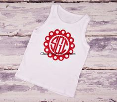 Dot Scalloped Circle Glitter Monogram Tank Top - YOU CHOOSE from 15 glitter colors-