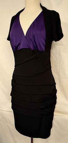 CAROLE LITTLE Sz 12 Sexy Black Bodycon Bandage Dress Crossover Front LBD Xcelent