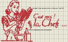 femme - woman  - chef - point de croix - cross stitch - Blog : http://broderiemimie44.canalblog.com/