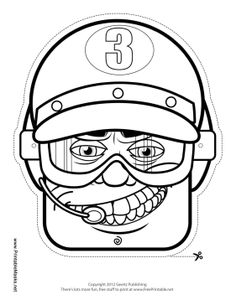 Male Racecar Driver Goggles Mask to Color Printable Mask, free to download and print