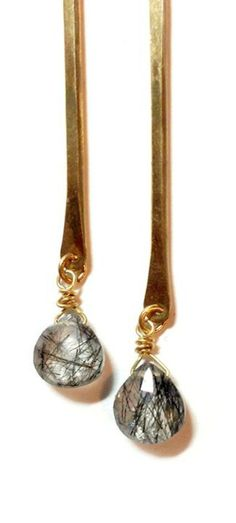 Black Tourmalinated Quartz Drop Earrings