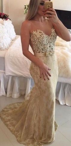 Sweetheart Mermaid Lace Prom Dress Beaded Party Dress