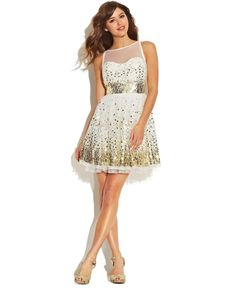 Ruby Rox Juniors Dress, Sleeveless Mesh Paillettes from Macy's on shop.CatalogSpree.com, your personal digital mall.