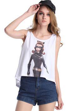 ROMWE   ROMWE Catwoman Barbie Print Sleeveless Vest, The Latest Street Fashion