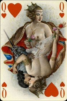 Not tarot, but too beautiful to ignore! Queen of Hearts Playing Cards For Sale, Hearts Playing Cards, Vintage Playing Cards, Queen Of Hearts Card, Oracle Cards, Illustrations, Pin Up Art, Deck Of Cards, Erotic Art