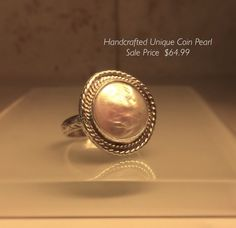 Coin Pearl Ring/Handmade Upcycled Coin Pearl and Sterling Silver  Ring /Free Shipping in the USA. by Jewelriart on Etsy https://www.etsy.com/listing/462671446/coin-pearl-ringhandmade-upcycled-coin