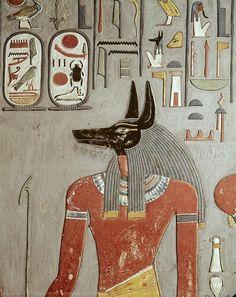 DescriptionEGYPT. Dayr al-Bahri. Valley of the Kings. Tomb of Horemheb. The god Anubis. Egyptian art. New Kingdom. Fresco - © BeBa/Iberfoto/Everett Collection