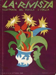 Fortunato Depero, futurismo 1928 cover grafica d'autore RIVISTA POPOLO D'ITALIA