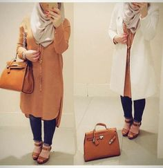 Long blouse hijab look- How to get hijab trendy looks http://www.justtrendygirls.com/how-to-get-hijab-trendy-looks/