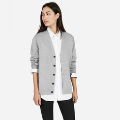 Everlane / His for Her Cotton Double-Knit Cardigan Light Grey*
