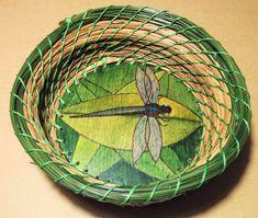 Pine Needle Basket Dragonfly by Karen Mercier   Etsy Wooden Basket, Wooden Pegs, Macaron Cookies, Pine Needle Baskets, Pine Needles, Artwork, Crafts, Etsy, Work Of Art