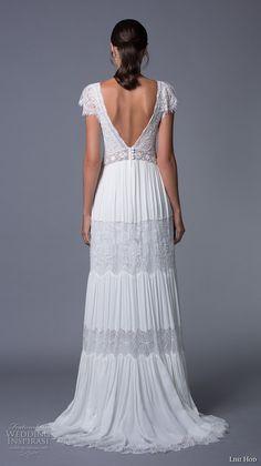 lihi hod 2017 bridal cap sleeves v neck heavily embellished bodice bohemian lace romantic a  line wedding dress v back sweep train (luella) bv