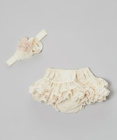 Love this Caught Ya Lookin' Cream Eyelet Bloomers & Flower Headband - Infant by Caught Ya Lookin' on #zulily! #zulilyfinds