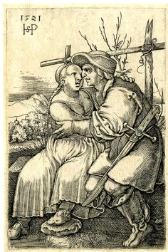 A peasant and his lover; deceptive copy after Beham (?); seated on a grassy bench in front of a low fence, the male figure at r; landscape background. Engraving