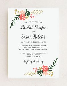 The Garden Party Bridal Shower Invitations contain vibrant pink florals against a clean white background. Choose from more than 160 color options, over 100 distinctive fonts, and editable text to transform your chosen template into the invitation of your dreams. #cutebridalshowerinvitation #summerbridalshowerinvitations #rusticbridalshowerinvites Bridal Party Invitations, Rustic Bridal Shower Invitations, Flower Cake Decorations, Wedding Trends, Wedding Ideas, Summer Bridal Showers, Summer Wedding Colors, Simple Weddings, Colorful Flowers