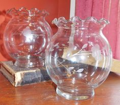 Princess House Crystal Etched Vase Set of Two by GrandpaCharlies, $25.00