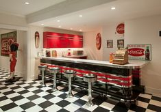 50'S Advertising Posters kitchens   Nostalgic 50s diner look for the bar area with vintage Coca cola decor ...