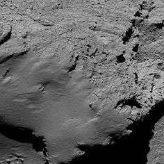 Rosetta's OSIRIS narrow-angle camera captured this image of Comet 67P/Churyumov-Gerasimenko at 06:53 GMT from an altitude of about 8.9 km during the spacecraft's final descent on 30 September.The image scale is about 17 cm/pixel and the image measures about 350 m across.