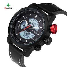 fac3f67440 North Double Movement Alarm Clock Quartz Wrist Watch Leather Sports Men  Watch