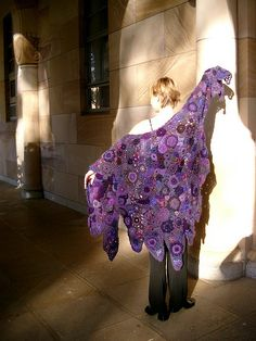 purple shawl by Prudence by freeform by prudence, via Flickr