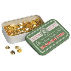 Lioncrest Drawing Pins In Tin   DotComGiftShop