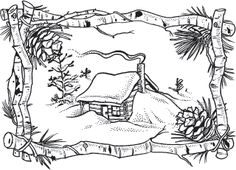 Embroidery Pattern Winter Cabin Scene - Rubber Stamps, Art Stamps, Custom Stamps and Stamping Supplies Wood Burning Crafts, Wood Burning Patterns, Wood Burning Art, Colouring Pages, Adult Coloring Pages, Coloring Books, Christmas Colors, Christmas Art, Winter Cabin