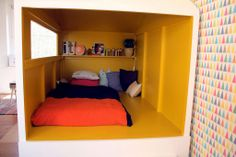 fantastic handmade cabin bed in a kids bedroom in France. Bunk Beds Built In, Kids Bunk Beds, House Beds For Kids, Deco Kids, Kids Decor, Home Decor, Home And Deco, Kid Spaces, Play Spaces