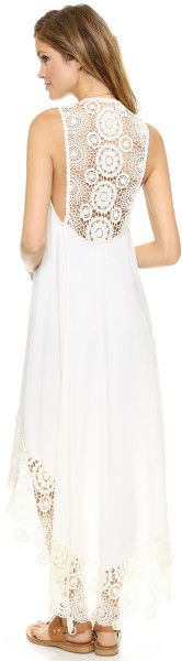 Nightcap Crochet Hanalei Dress Peach in White (Natural) - Lyst