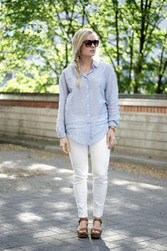 Platform sandals, white jeans & blue button-down